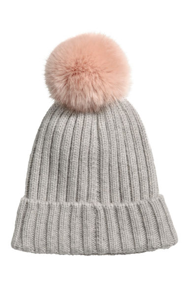 Ribbed hat - Light grey marl - Ladies | H&M